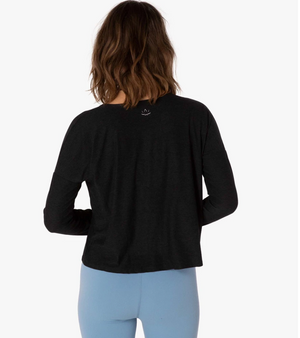 Beyond Yoga Morning Light Cropped Pullover (Darkest Night)