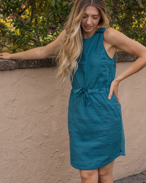United By Blue SoftHemp™ Snap-Strap Cinch Dress (Deep Turquoise)