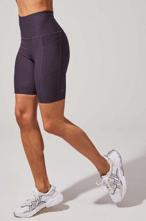 MPG Brisk High Waisted Biker Short (Purple Charcoal)