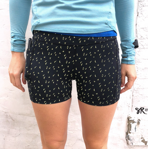 Oiselle Firecracker Reflective Shorts (Black Flying Birds)