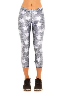 Terez Heathered Gray Stars Performance Capri Leggings