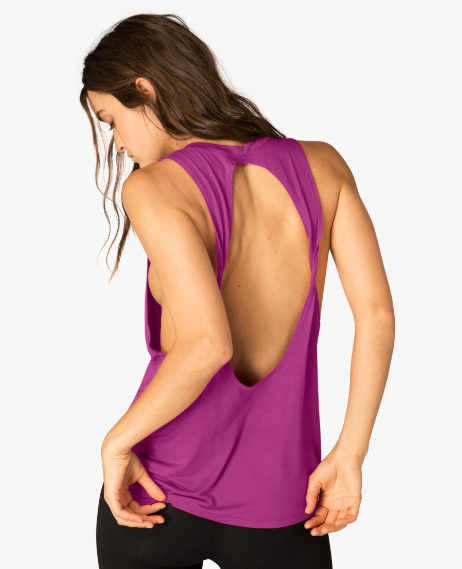 Beyond Yoga Slink or Swim Open Back Tank (Plumberry)