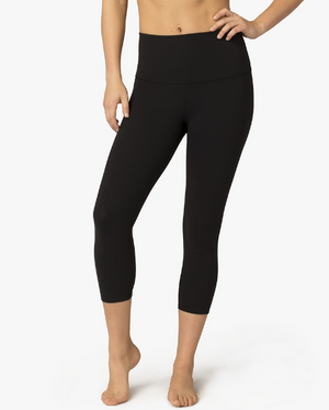 Beyond Yoga Walk and Talk High Waisted Capri Legging (Jet Black)
