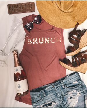 Sarah Marie bRUNch Rose Gold Foil Muscle Tank