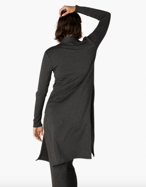 Beyond Yoga High Slits Long Duster (Charcoal Heather Gray)