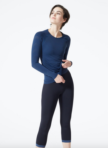 MPG Ellipse Stink-Free Seamless Long Sleeve Top (Navy Sky)