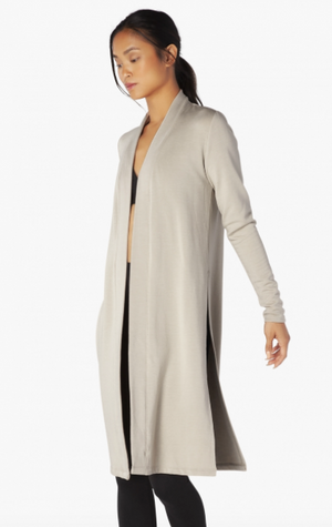 Beyond Yoga High Slits Long Duster (Oatmeal Heather)