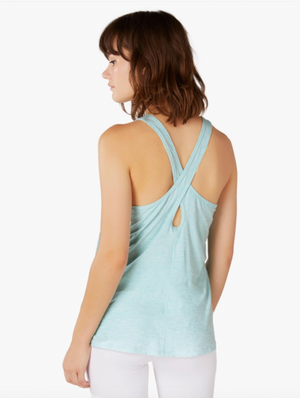 Beyond Yoga Lightweight Crossed Back Tank w/STS logo (Island Topaz/White)