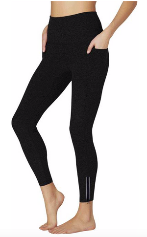 Beyond Yoga Spacedye Subtle Zip Midi Legging (Darkest Night)