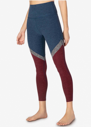 Beyond Yoga Tri-Panel Spacedye Midi Legging (Navy-Burgundy)