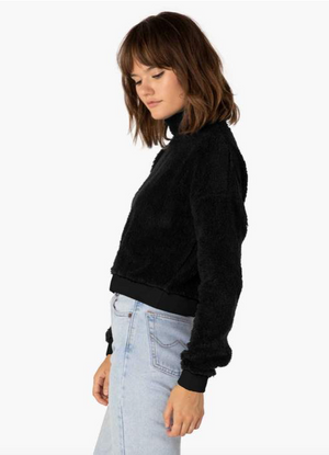 Beyond Yoga All Time Cropped Pullover (Black Sherpa)