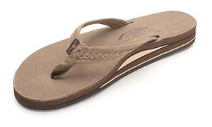 Rainbow Willow Double Layer Leather Sandal (Dark Brown)