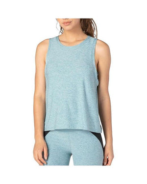 Beyond Yoga Knot So Fast Cropped Tank (Blue Crush/Sky Blue)
