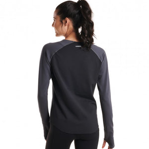 Oiselle Bird Hug Reversible Long Sleeve (Black/Granite)