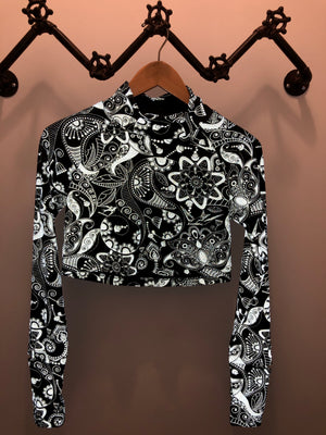 Oiselle Firecracker Long Sleeve (Black Reflective Steam Punk Birds)