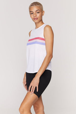 Spiritual Gangster Stripe Active Muscle Tank