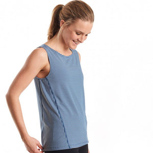Oiselle Striped Boatneck Tank (Curfew/White)