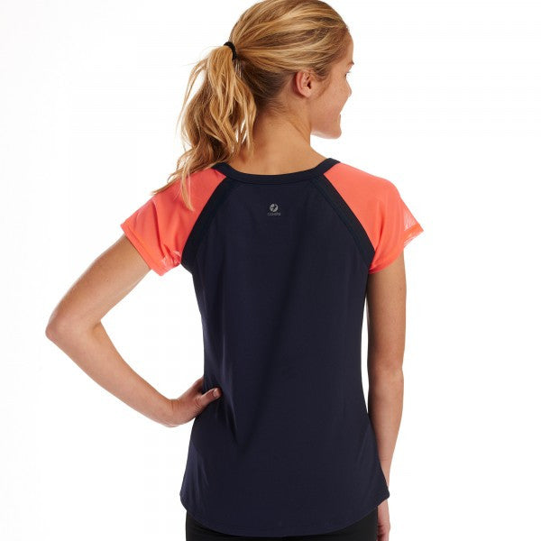 Oiselle Window Short Sleeve Running Tee (Midnight + Snap)