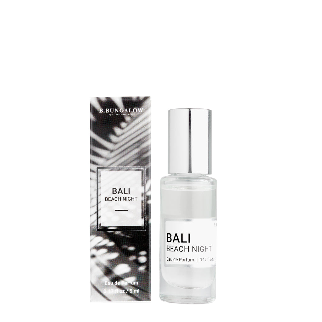 NEW Bali Beach Night fragrance from B. Bungalow and Beachwaver Co. An exotic blend of Australian sandalwood, Hawaiian island coconut and Tahitian vanilla. Rollerball size for easy travels.