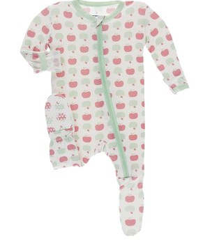 Kickee Pants Ruffle Footie Natural Apples