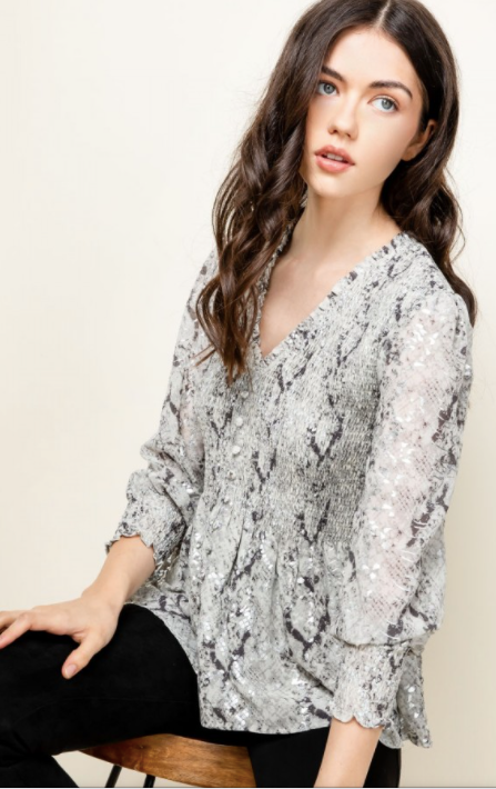 Smocked V-Neck Printed Top