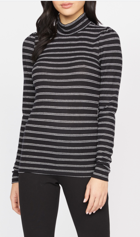 Soft Shoulder Black/White Stripe Tee