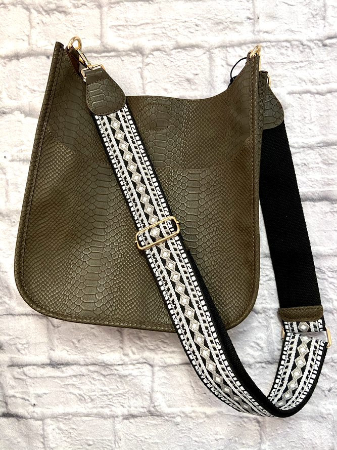 Vegan Leather Snake Crossbody Taupe