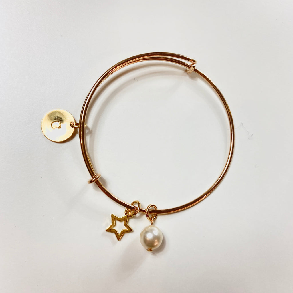 Gold Initial Bangle