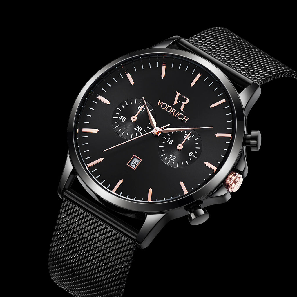 VR Chrono Black/Rose Gold - Vodrich