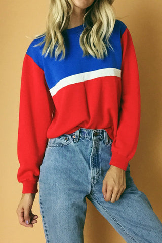 One For The Team 1970's Color Block Sweatshirt