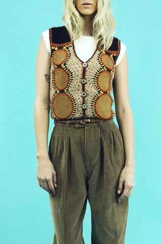 Out Of Sight 70's Suede & Crochet Vest