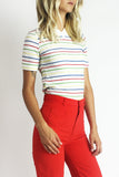 Down The Line 1970's Rainbow Striped V-Neck Tee