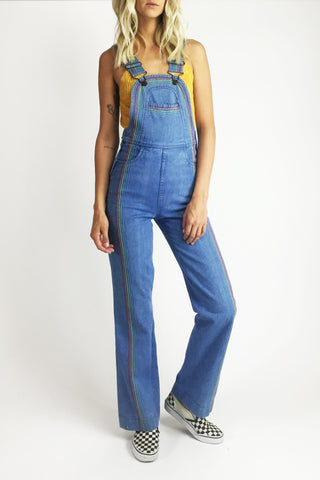 Up And Over 1970's Faded Glory Rainbow Denim Overalls
