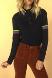 Smokes After Class 1970's Rainbow Long Sleeve Polo