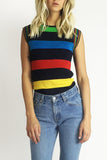 Neon Nights 1970's Rainbow Stripe Top