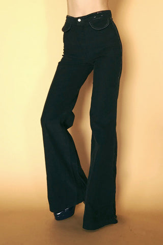Between The Lines 1970's Corduroy & Rainbow Stitch Bell Bottoms