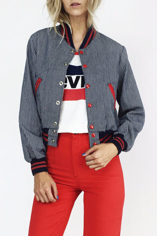 Down The Line 1970's Hickory Striped Bomber Jacket