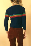 Fall On The Boardwalk 1970's Rainbow Ski Sweater