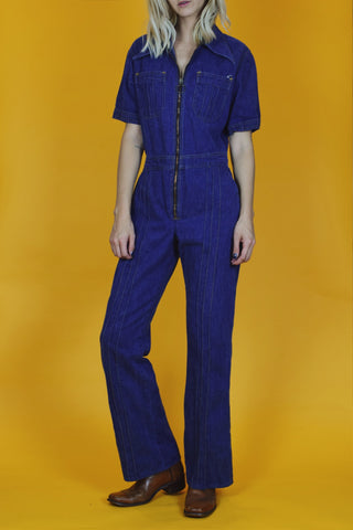 Blue Jean Baby 1970's Denim Jumpsuit