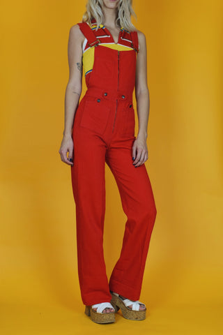 Hot Tamale 1970's Red Denim Overalls