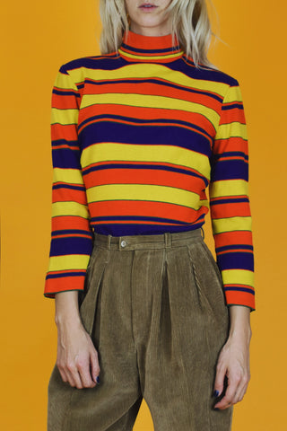 Art Box 1970's Primary Color Striped Turtleneck