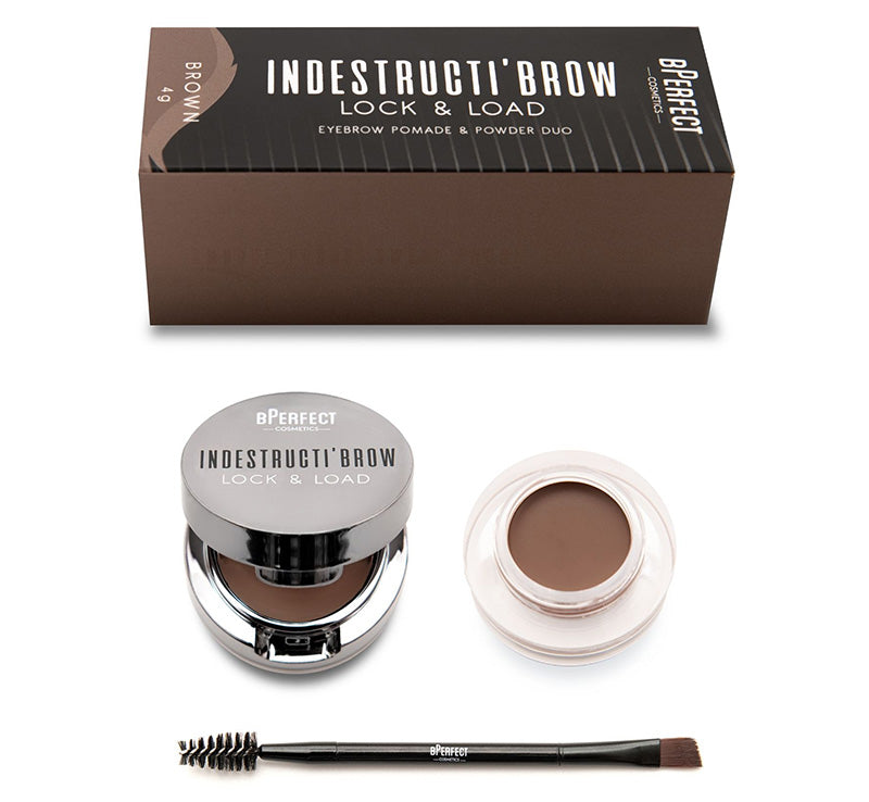 INDESTRUCTI'BROW LOCK & LOAD EYEBROW POMADE & POWDER DUO - BROWN
