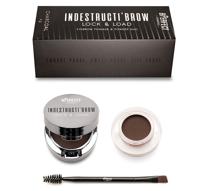INDESTRUCTI'BROW LOCK & LOAD EYEBROW POMADE & POWDER DUO - CHARCOAL
