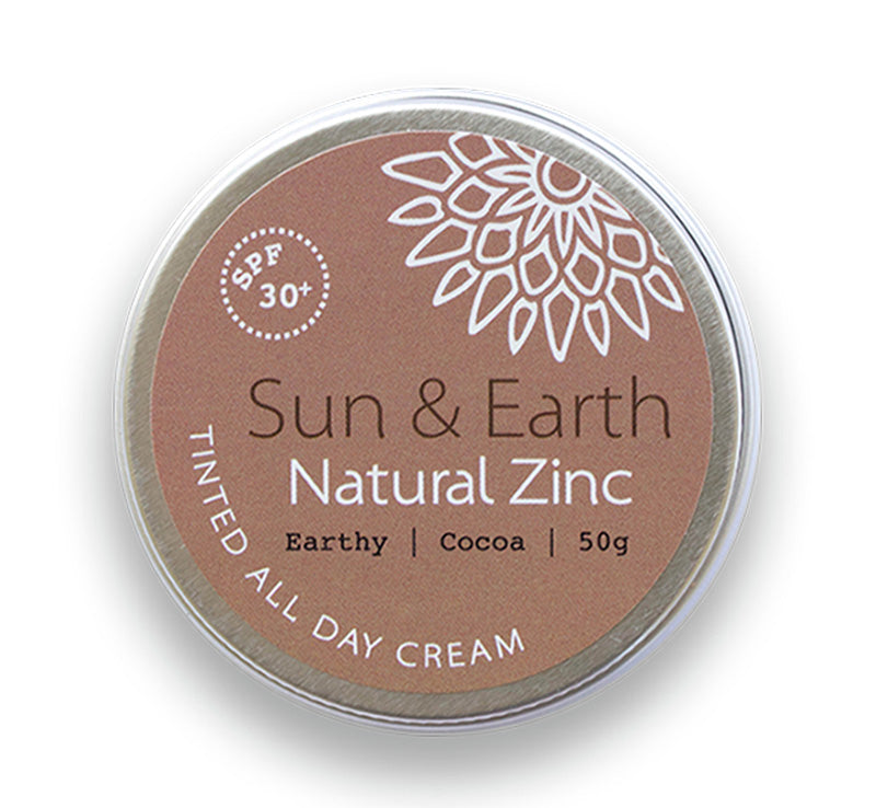SUN & EARTH NATURAL ZINC TINTED ALL DAY CREAM SPF30 - EARTHY COCOA Glam Raider