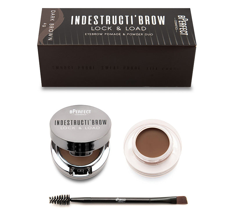 INDESTRUCTI'BROW LOCK & LOAD EYEBROW POMADE & POWDER DUO - DARK BROWN