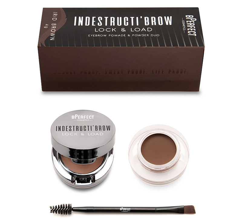 INDESTRUCTI'BROW LOCK & LOAD EYEBROW POMADE & POWDER DUO - IRID BROWN
