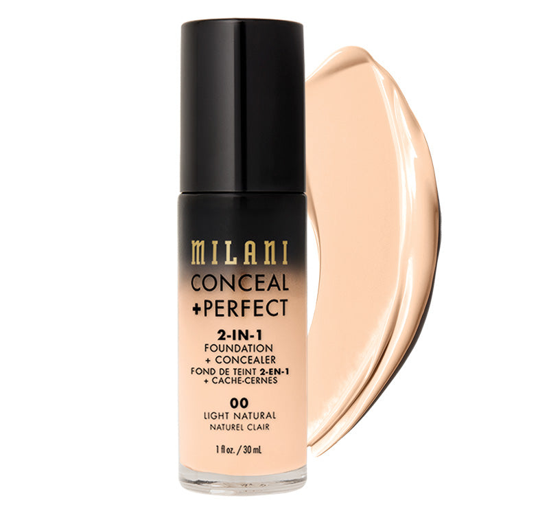 MILANI CONCEAL + PERFECT 2-IN-1 FOUNDATION - LIGHT NATURAL Glam Raider