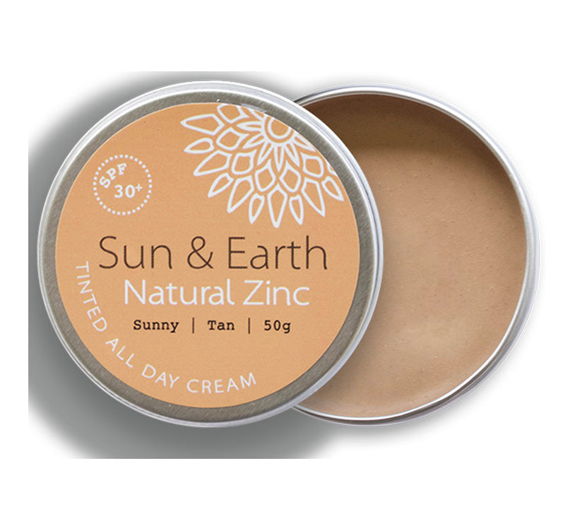 SUN & EARTH NATURAL ZINC TINTED ALL DAY CREAM SPF30 - SUNNY TAN Glam Raider