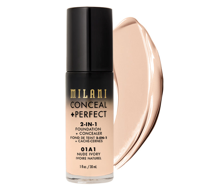 MILANI CONCEAL + PERFECT 2-IN-1 FOUNDATION - NUDE IVORY Glam Raider