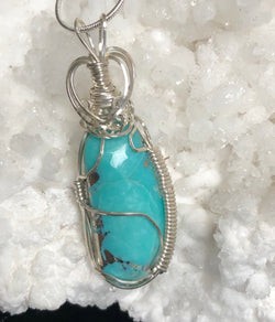 """Strike it Rich!""  New Mexico Turquoise Pendant with Chain."